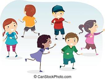 giochi, bambini, corsa, stickman
