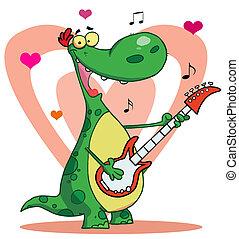 giochi, chitarra, dinosauro