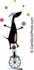 giochi destrezza, divertente, palle, cane, illustrazione, unicycle, cavalcate