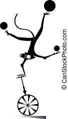 giochi destrezza, palle, scimmia, illustrazione, unicycle, cartone animato