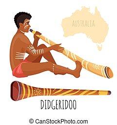 giochi, didgeridoo, vernice faccia, swarthy, bianco, uomo