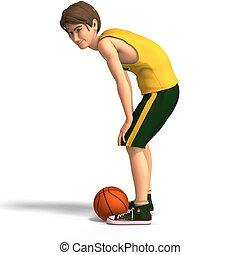 giochi, giovane, basketbal, uomo