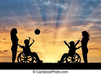 giochi palla, infermiere, carrozzella, ragazzi, tramonto, felice