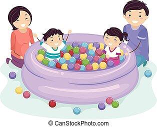 giochi palla, stickman, famiglia, bambini, fossa, stagno