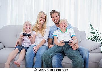 giochi video, gioco, famiglia, insieme