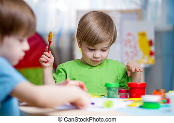 gioco, argilla, casa, bambini