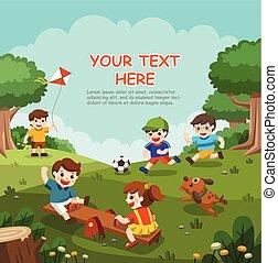 gioco, bambini, detenere, illustrazione, eccitato, divertimento, insieme, playground., esterno., bambini, felice
