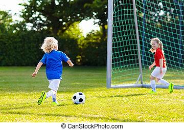 gioco, bambini, football., field., bambino, calcio