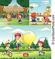 gioco, bambini, giardino, scena