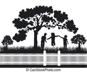 gioco, bambini, giardino