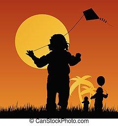 gioco, bambini, illustrazione, natura