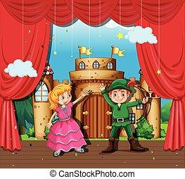 gioco, bambini, palcoscenico