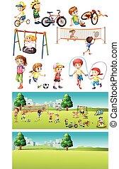 gioco, bambini, parco, scene, sport