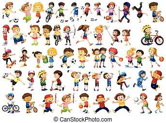 gioco, bambini, sport, set