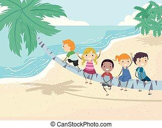 gioco, bambini, stickman, albero, illustrazione, palma