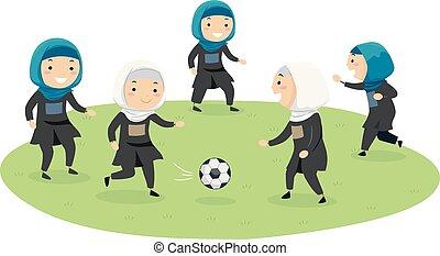 gioco, bambini, stickman, football, ragazze, illustrazione