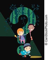 gioco, bambini, stickman, punto interrogativo, foresta