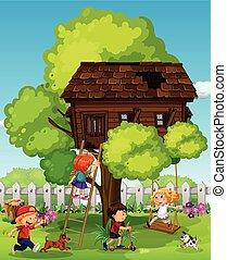 gioco, bambini, treehouse
