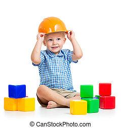 gioco bambino, con, costruzione blocca, giocattolo