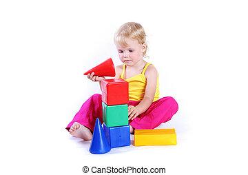 gioco bambino, con, giocattolo