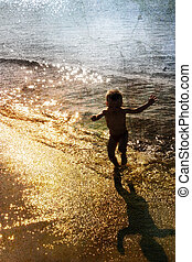 gioco bambino, con, il, mare
