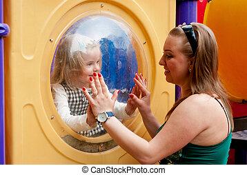 gioco, bambino, madre
