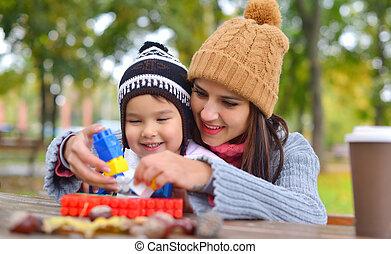 gioco, bambino, parco, lei, madre