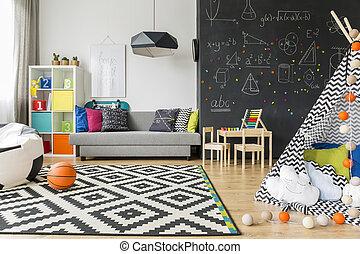 gioco, bambino, sonno, stanza, ideale