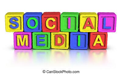 gioco, blocchi, :, sociale, media