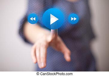 gioco, bottone urgente, mano