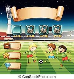 gioco, calcio, gioco, sagoma, bambini