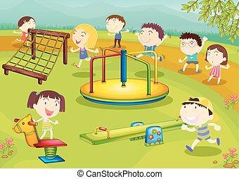 gioco, campo di gioco, bambini