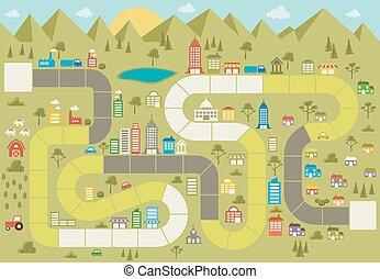 gioco cartolina, con, uno, blocco, percorso