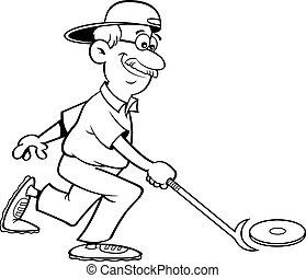 gioco, cartone animato, shuffleboard., anziano