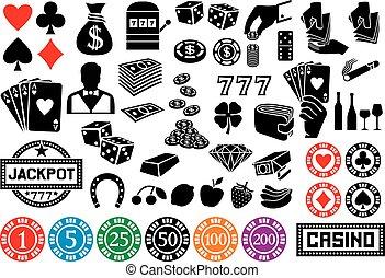 gioco, casinò, o, icone