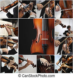 gioco, collage, dettaglio, sinfonia, musicisti, violino