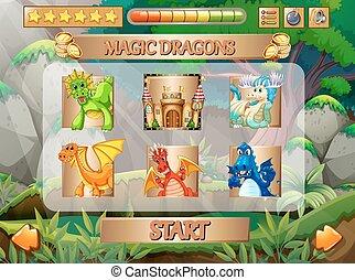 gioco, computer, caratteri, drago