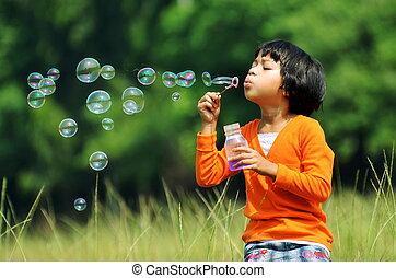 gioco, con, bolle