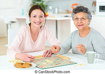 gioco, donna, asse, anziano, gioco