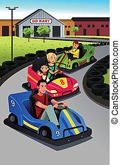 gioco, famiglia, automobilina corsa