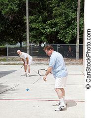 gioco, famiglia, racquetball