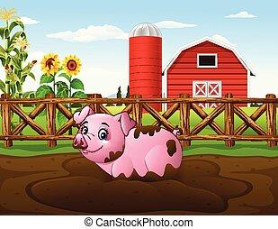gioco, fango, cartone animato, fattoria maiale, pozzanghera