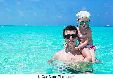 gioco, figlia, padre, poco, mare, felice