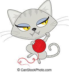 gioco, filato, gatto