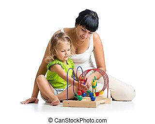 gioco, giocattolo, colorare, bambino, educativo, madre, ragazza