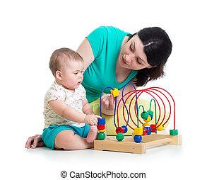 gioco, giocattolo, colorare, educativo, madre, bambino