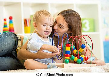 gioco, giocattolo, educativo, capretto, madre