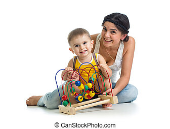 gioco, giocattolo, educativo, madre, ragazza bambino
