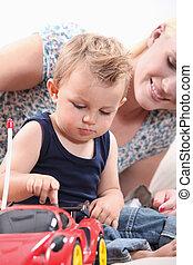 gioco, giocattolo, osservare, automobile, figlio, madre