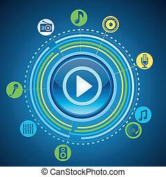 gioco, icone concetto, bottone, luminoso, musica